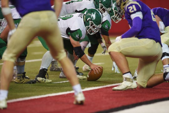 Colome attempts to gain two points at the one yard line against Sully Buttes in the 9B Championships Friday, Nov. 9, at the DakotaDome in Vermillion.