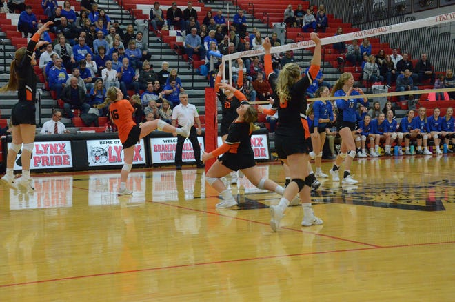 The Quarriers volleyball team plays during the Nov. 6 match with Elk Point-Jefferson.