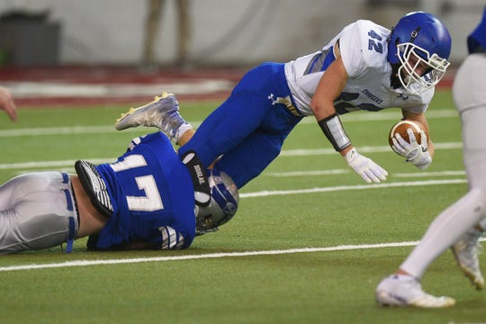 Sioux Falls Christian's Dawson Mulder goes against Bridgewater-Emery/Ethan defense in the 11B Championships Friday, Nov. 9, at the DakotaDome in Vermillion.