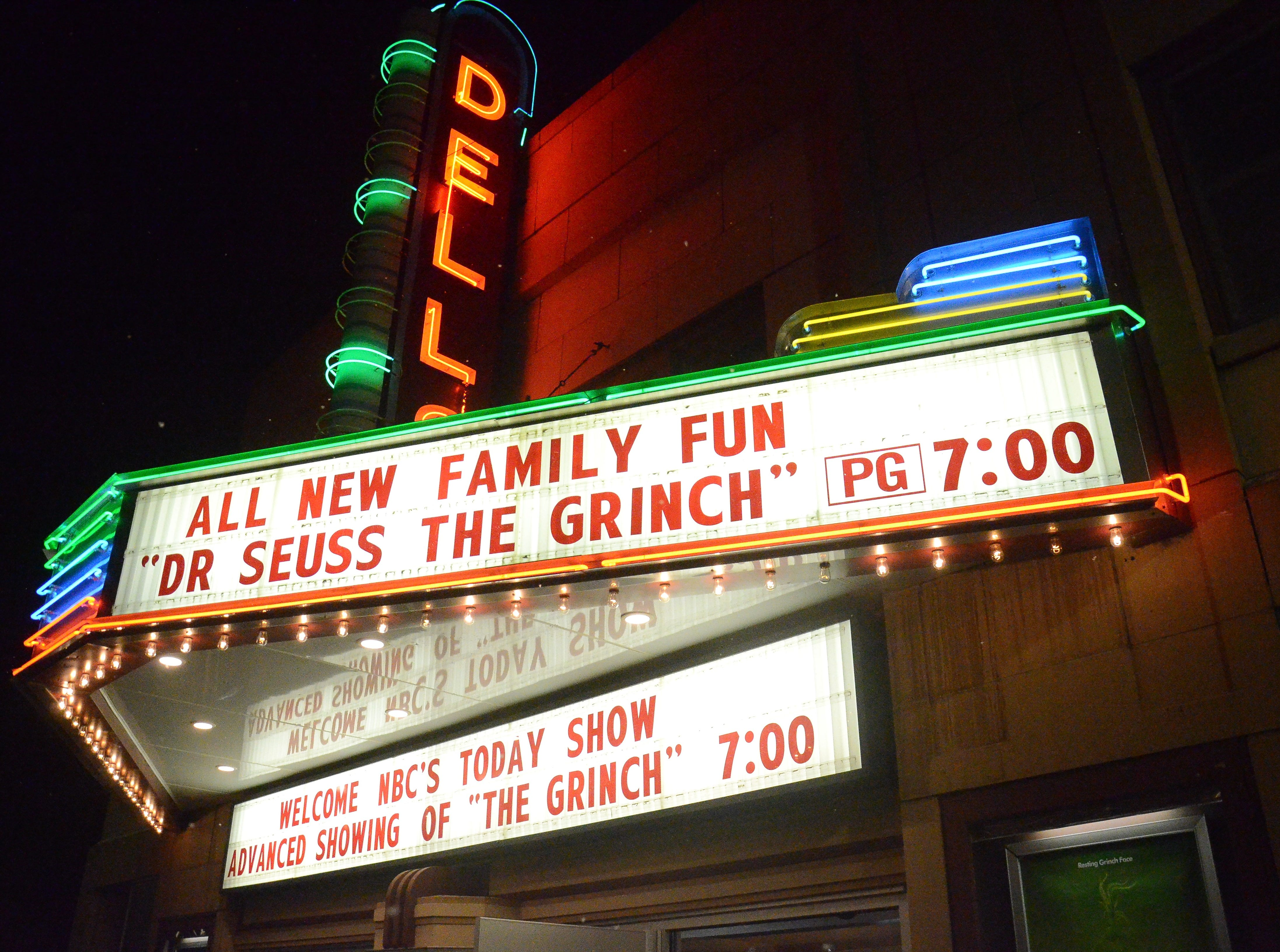 """The Dells Theatre marquee acknowledged the NBC """"Today"""" show presence."""