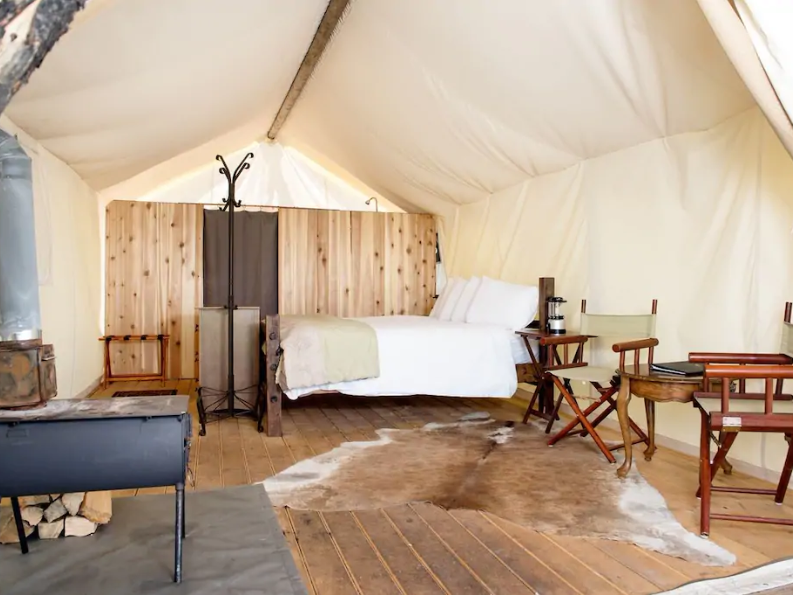 """""""Glamping"""" is available in the Black Hills in the Under Canvas Rushmore - Deluxe Tent in Keystone."""