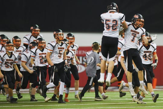 Dell Rapids takes the field for the game against Tea Area Thursday, Nov. 8, in the 11A Championships at the DakotaDome in Vermillion.