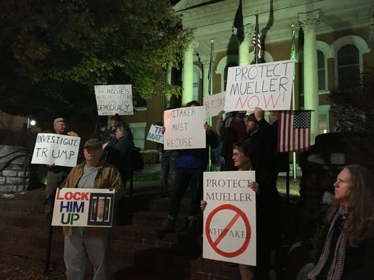 A group of protestors gathered on the Augusta County courthouse Thursday evening. They fear with attorney general Jeff Sessions out, special counsel Robert Mueller could be fired.