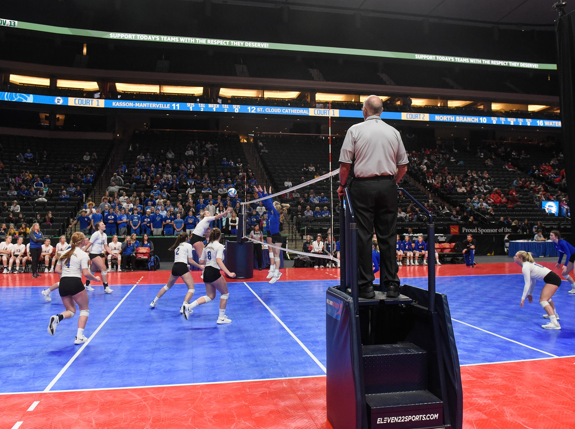 Cathedral and Kasson-Mantorville face off during the state Class 2A quarterfinals Thursday, Nov. 8, at the Xcel Energy Center in St. Paul.