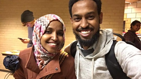 Abdi Daisane (right) poses with Ilhan Omar, who was elected to the U.S. House of Representatives on Tuesday, Nov. 6, 2018.