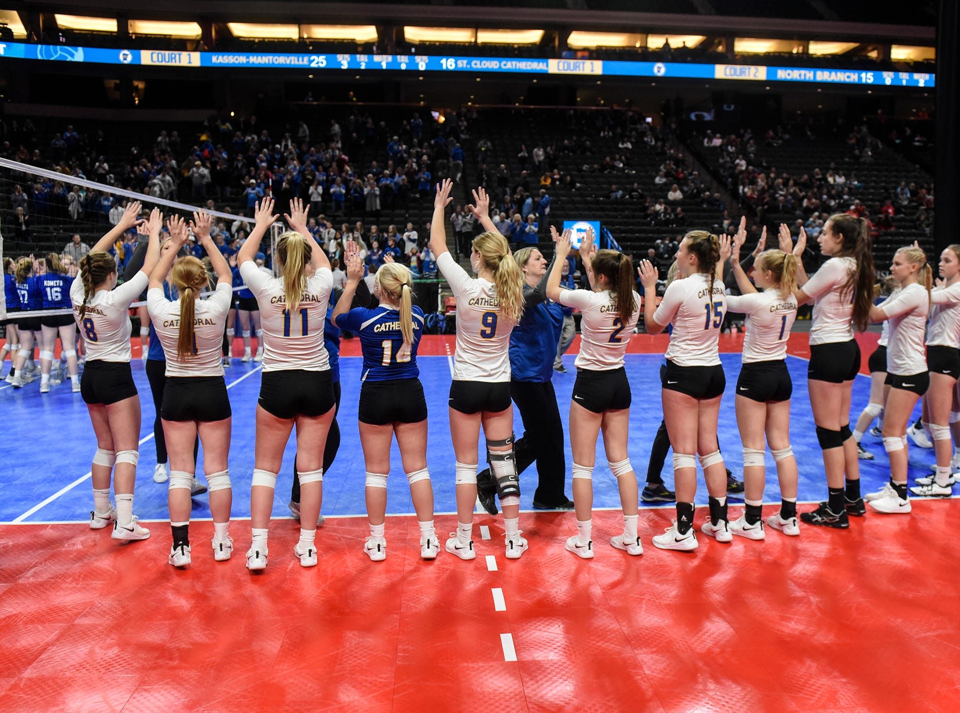 Catehdral players line up following the state Class 2A quarterfinals Thursday, Nov. 8, at the Xcel Energy Center in St. Paul.