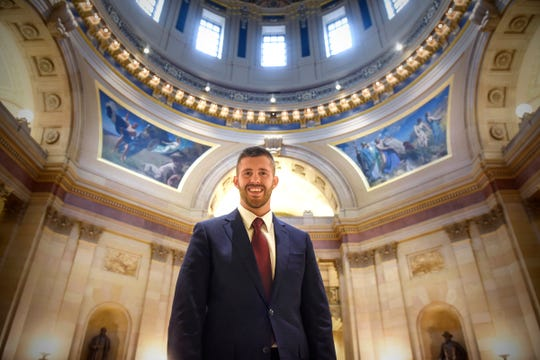 Dan Wolgamott is pictured in the rotunda of the state Capitol following a tour Thursday, Nov. 8, in St. Paul. Wolgamott won the House District 14B election to represent Central Minnesota in the Legislature.