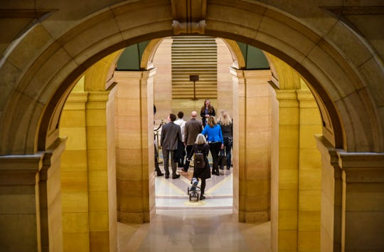New state lawmakers are given a tour of the state Capitol Thursday, Nov. 8, in St. Paul. Shane Mekeland, Dan Wolgamott and Lisa Demuth are the new lawmakers representing Central Minnesota next year in the Legislature.