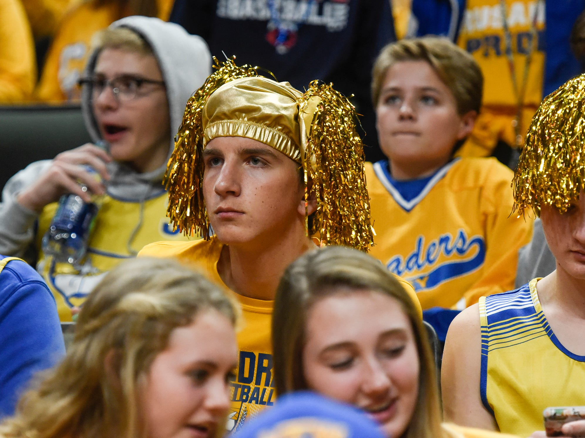 Cathedral fans react to their team's 3-0 loss in the state Class 2A quarterfinals Thursday, Nov. 8, at the Xcel Energy Center in St. Paul.