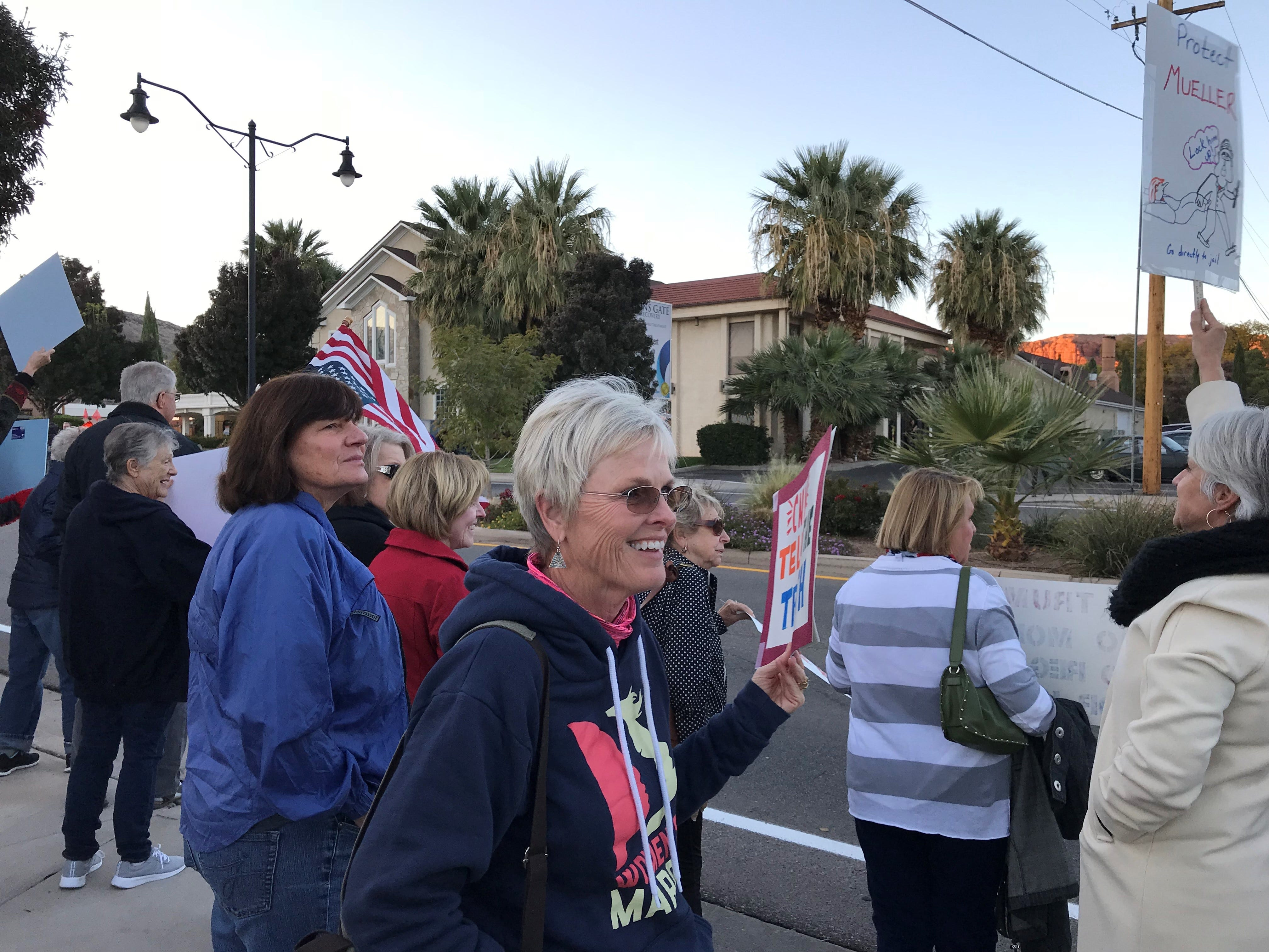 Activists gathered Thursday in front of Rep. Chris Stewart's St. George offices in defense of an ongoing special investigation into the 2016 elections. The event was a local piece of a larger national campaign organized in response to President Donald Trump's dismissal of Attorney General Jeff Sessions.
