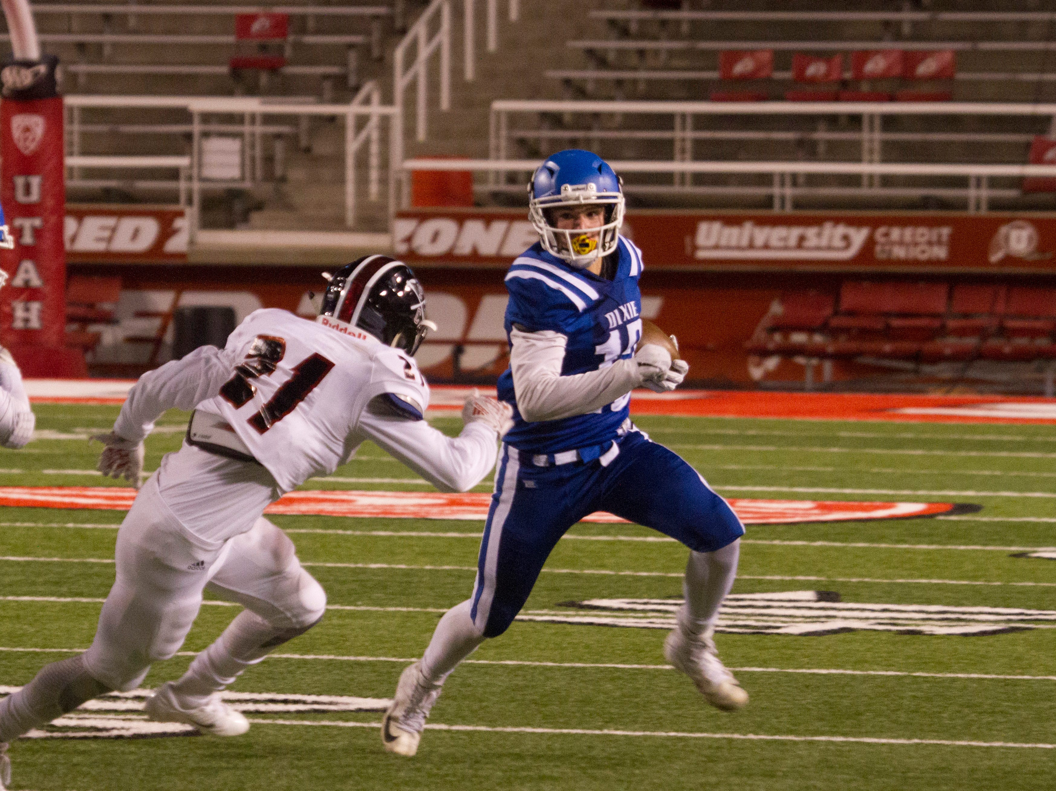 Dixie High School takes on Park City during the state semifinals Thursday, Nov. 8, 2018.