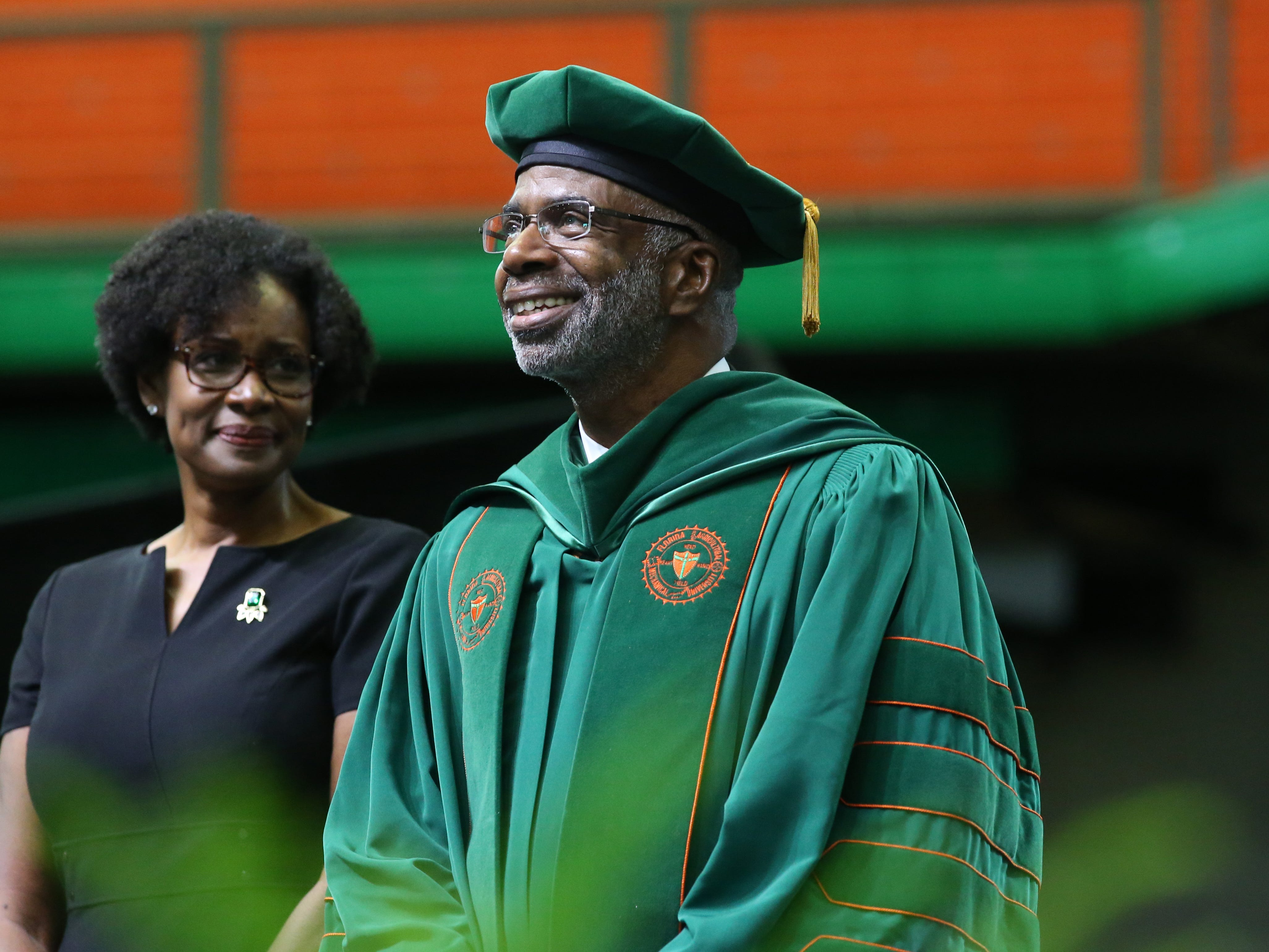 The Academic Robing of Larry Robinson, performed by his wife, Sharon Robinson at the 2018 Presidents' Inauguration held in the Lawson Center on Friday, Nov. 9, 2018.