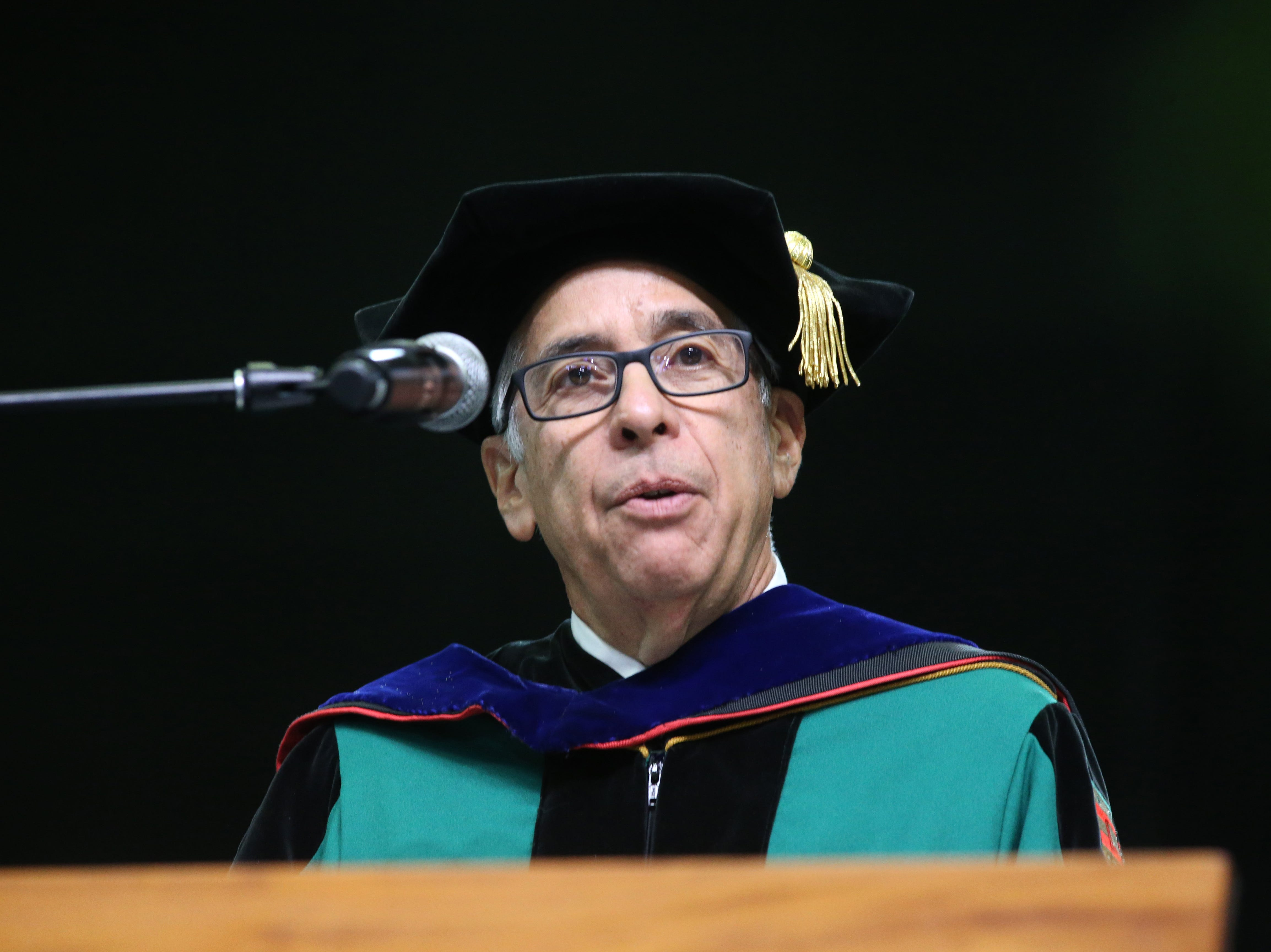 Edward Macias, Provost Emeritus Washington University in St. Lous,  speaks at the 2018 Presidents' Inauguration for Larry Robinson, held in the Lawson Center on Friday, Nov. 9, 2018.