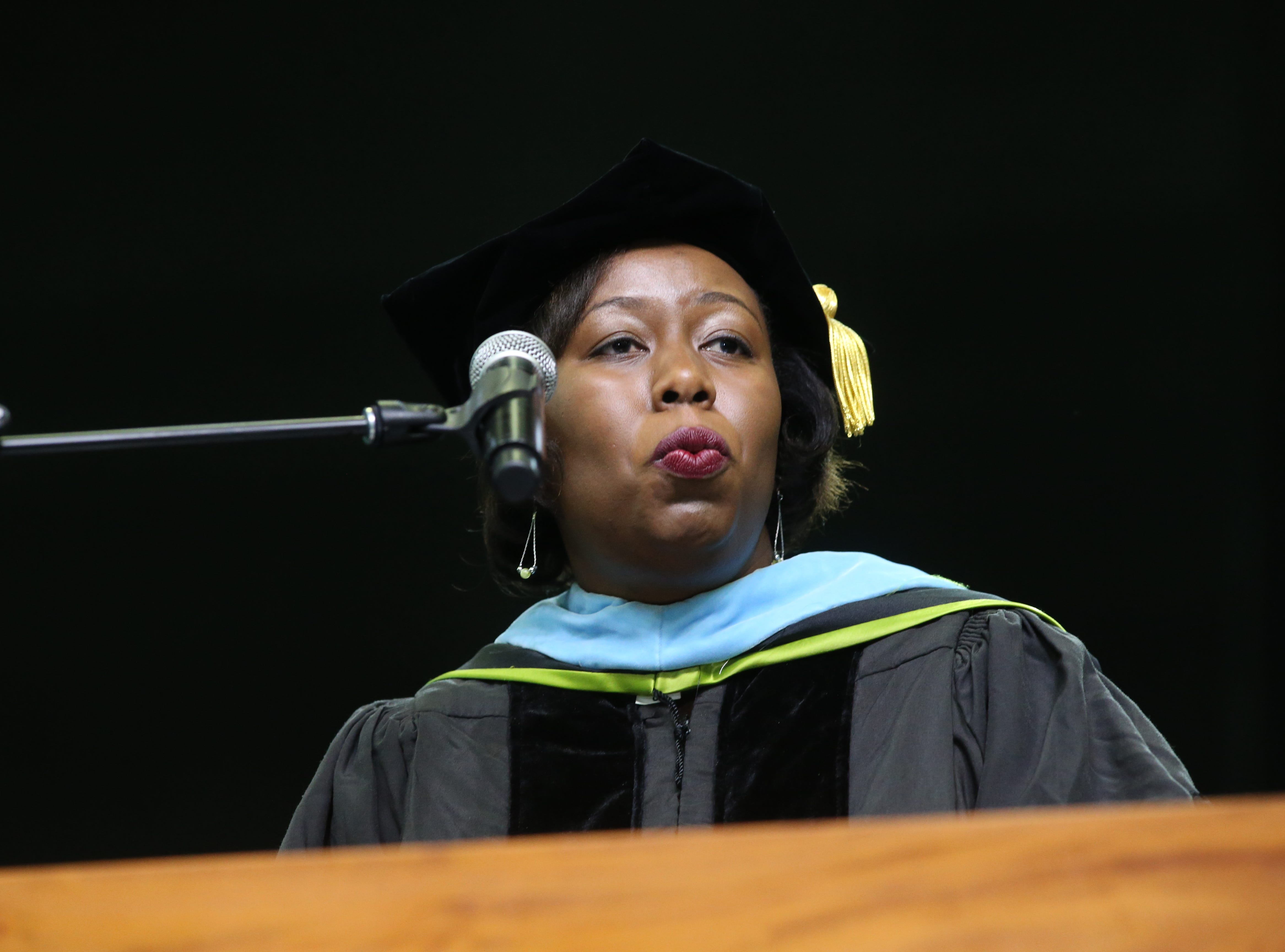 LaToya Myles speaks at the 2018 Presidents' Inauguration for Larry Robinson, held in the Lawson Center on Friday, Nov. 9, 2018.