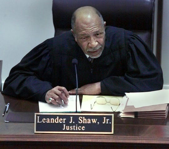 Florida Supreme Court Justice, Leander J. Shaw, Jr., speaks on Monday in Tallahassee, Fla., during the hearing about the legality of Florida's recount.