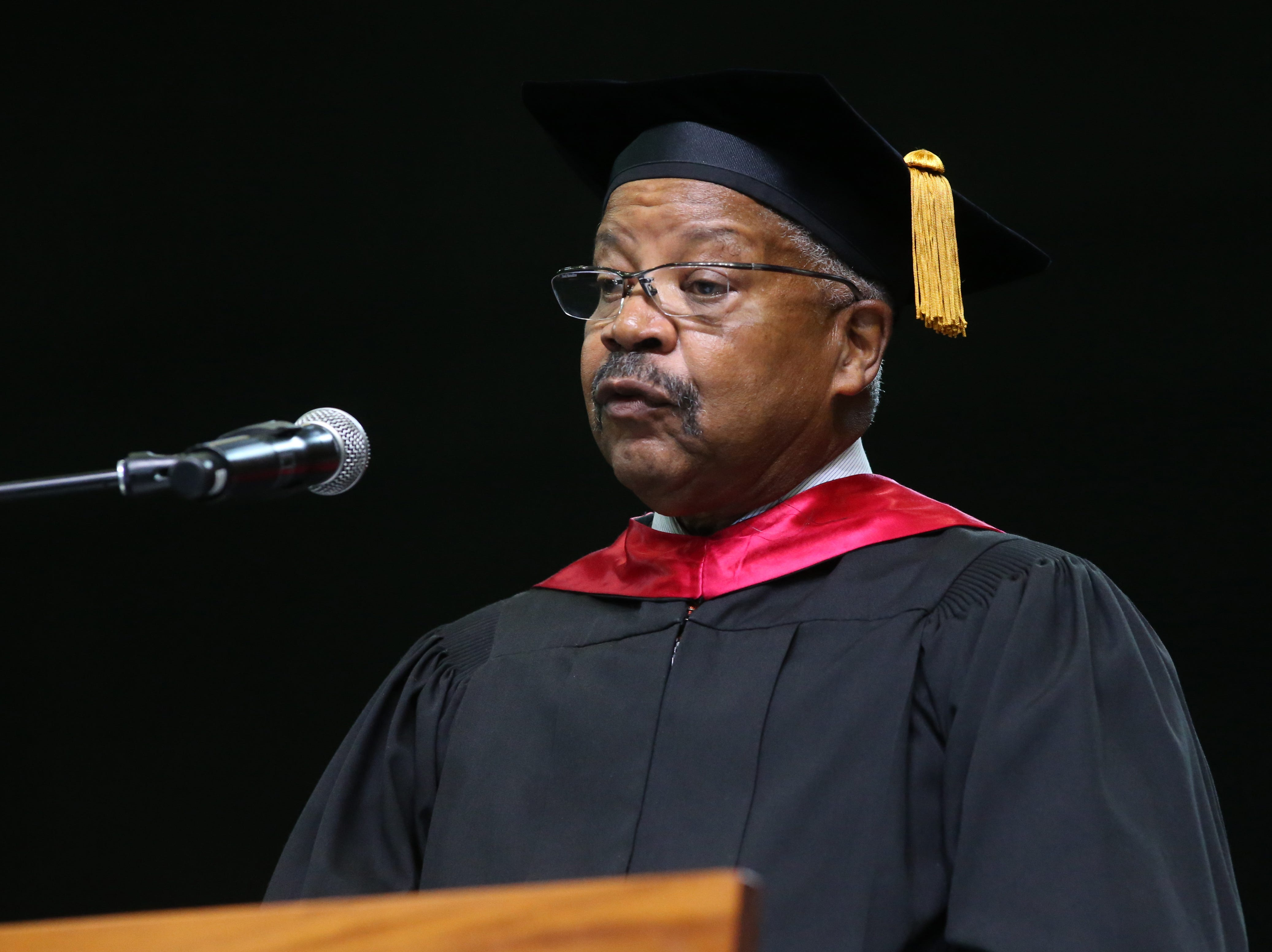 Rodner B. Wright give the introduction for FAMU President Larry Robinson at the 2018 Presidents' Inauguration held in the Lawson Center on Friday, Nov. 9, 2018.