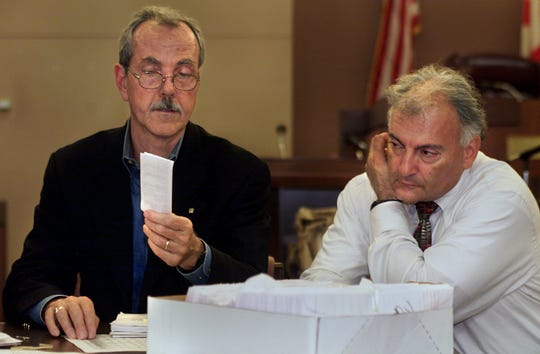 From 2000: Then-Leon County Commissioner Bob Rackleff and then-Leon County Supervisor of Elections Ion Sancho recount ballots in the Leon County Courthouse. (Not pictured but also counting was then-County Judge Tim Harley).