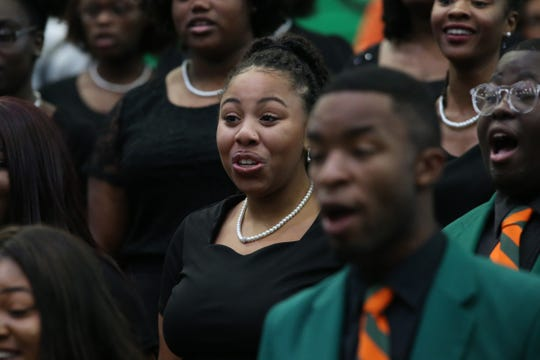 "The FAMU Concert Choir, shown at President Larry Robinson's inauguration. They will be performing with TSO and the Morehouse College Glee Club for ""Ode to Understanding"" on March 31."