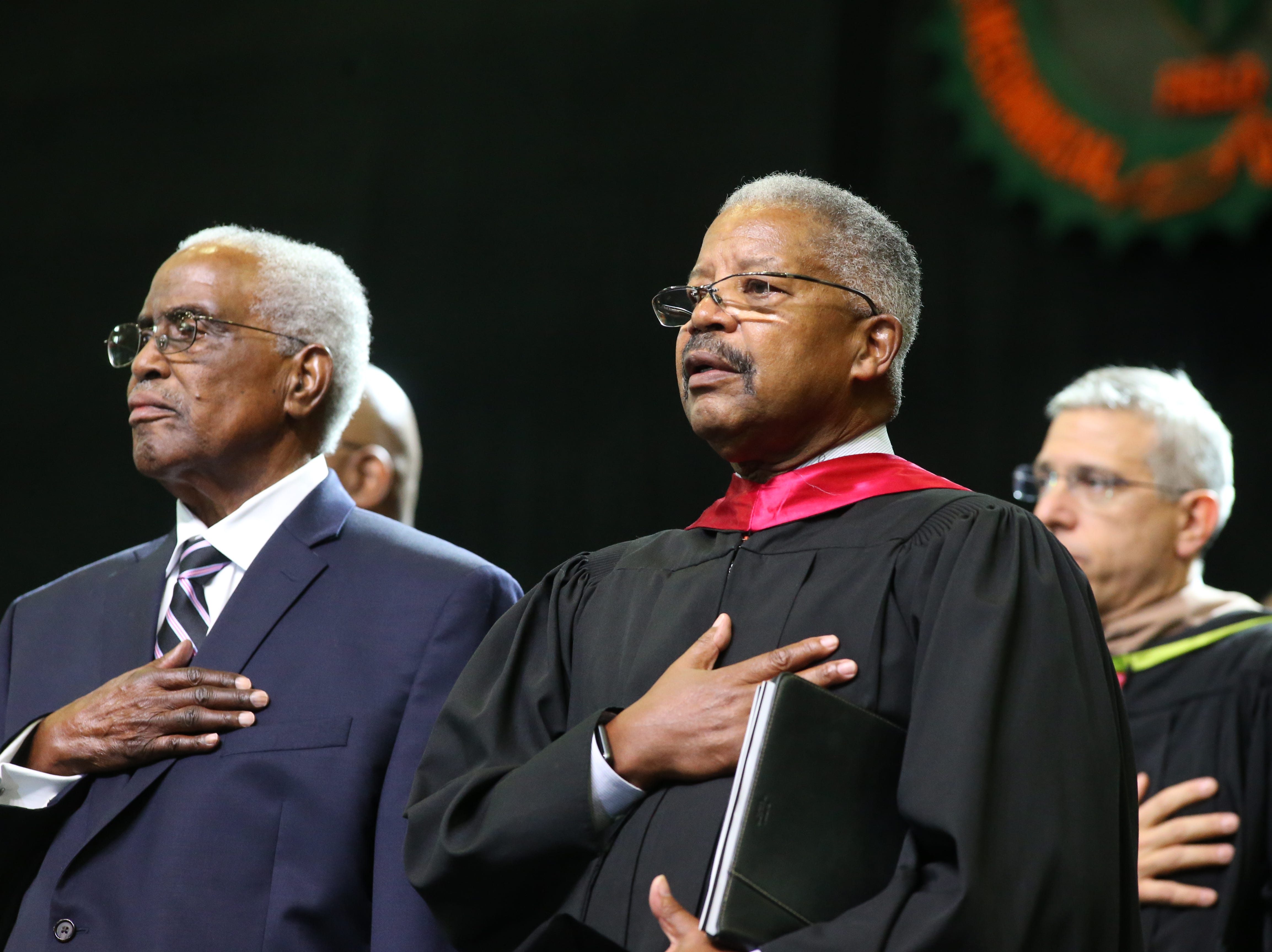 FAMU delegates walk in a processional before President Larry Robinson is inaugurated at the 2018 Presidents' Inauguration held in the Lawson Center on Friday, Nov. 9, 2018.