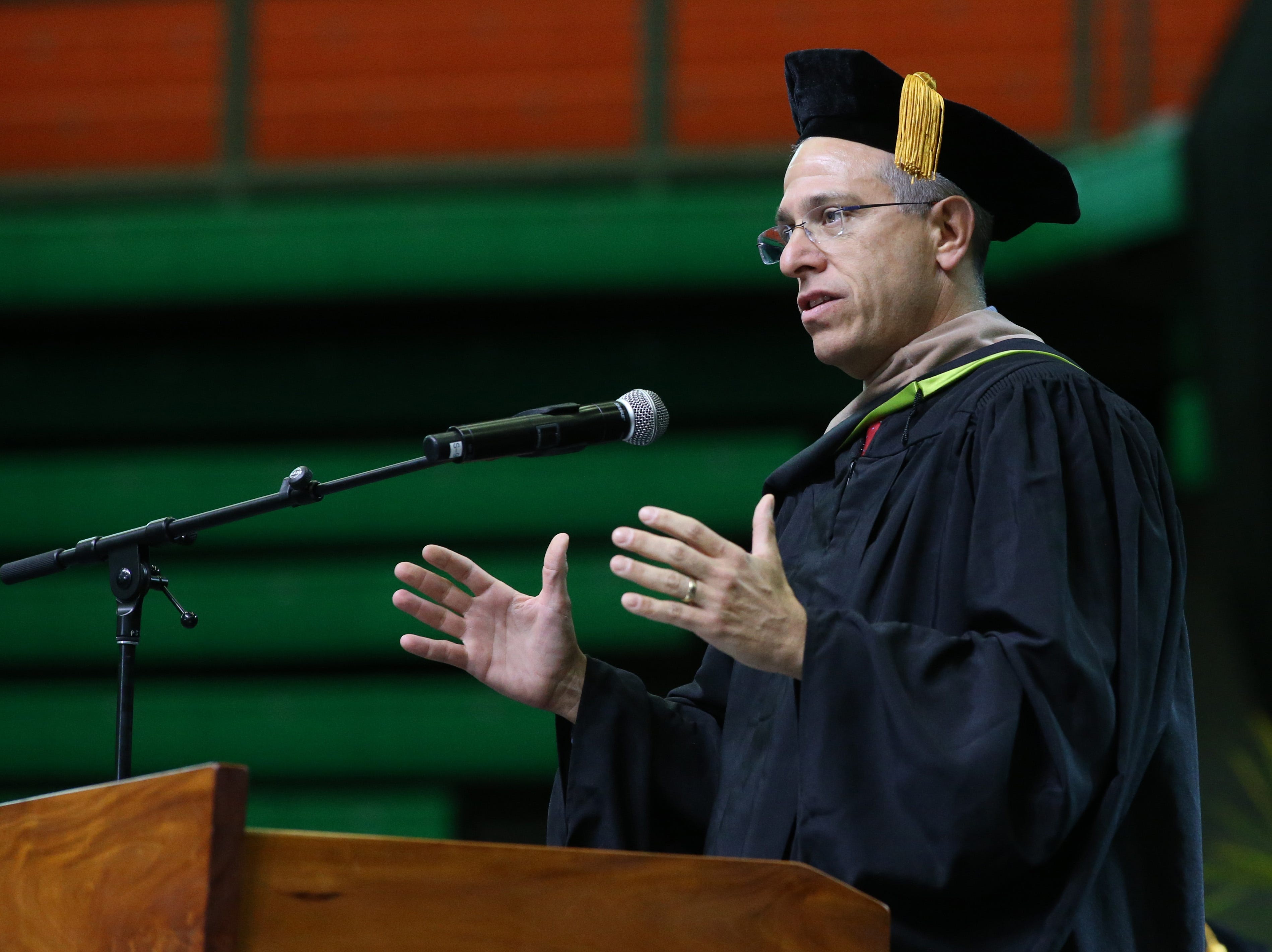 Alan Levine, member of Florida Board of Governors, speaks at the 2018 Presidents' Inauguration for Larry Robinson, held in the Lawson Center on Friday, Nov. 9, 2018.