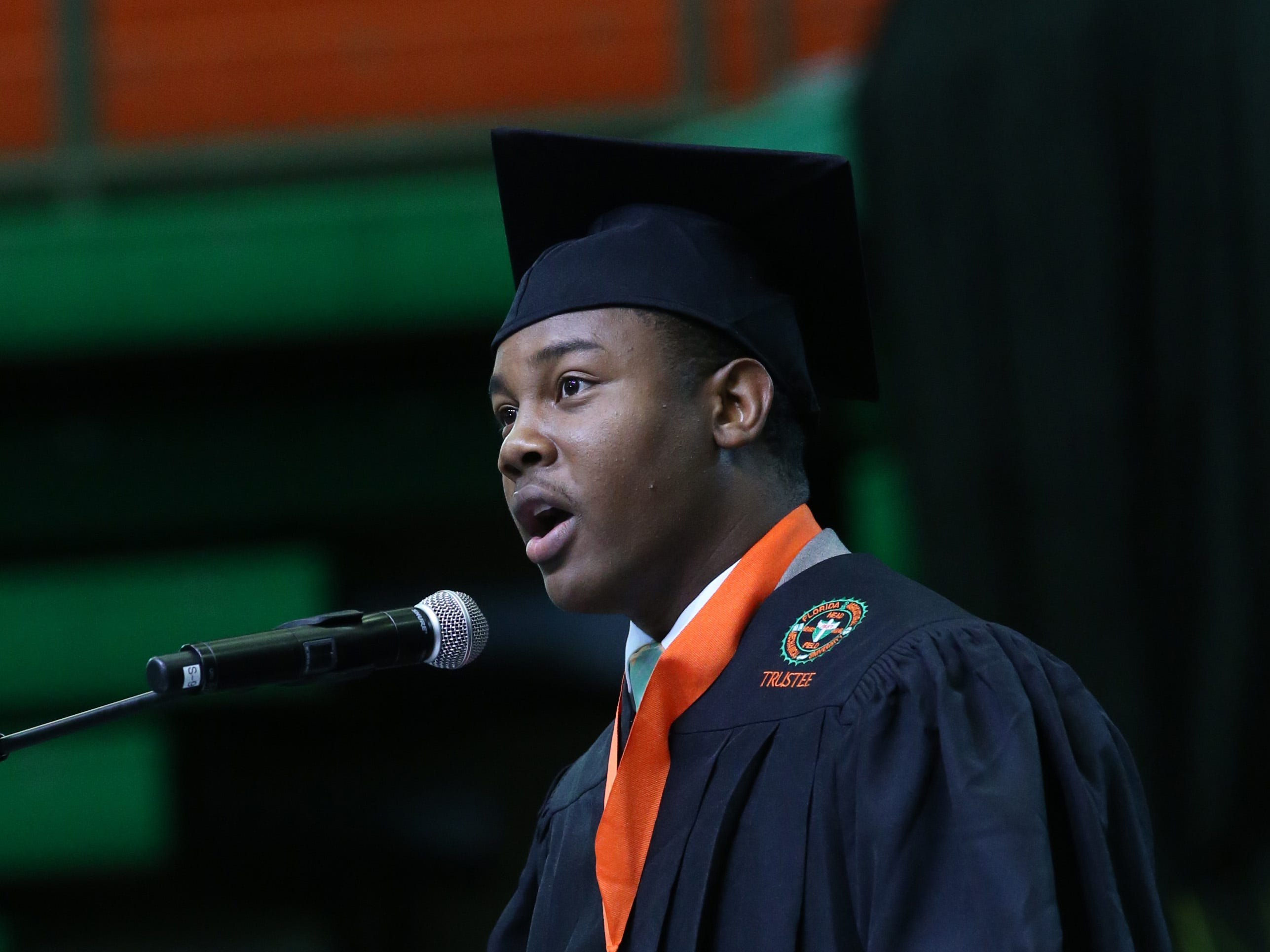 David Jackson, III, President of the Student Government Association, speaks at the 2018 Presidents' Inauguration for Larry Robinson, held in the Lawson Center on Friday, Nov. 9, 2018.