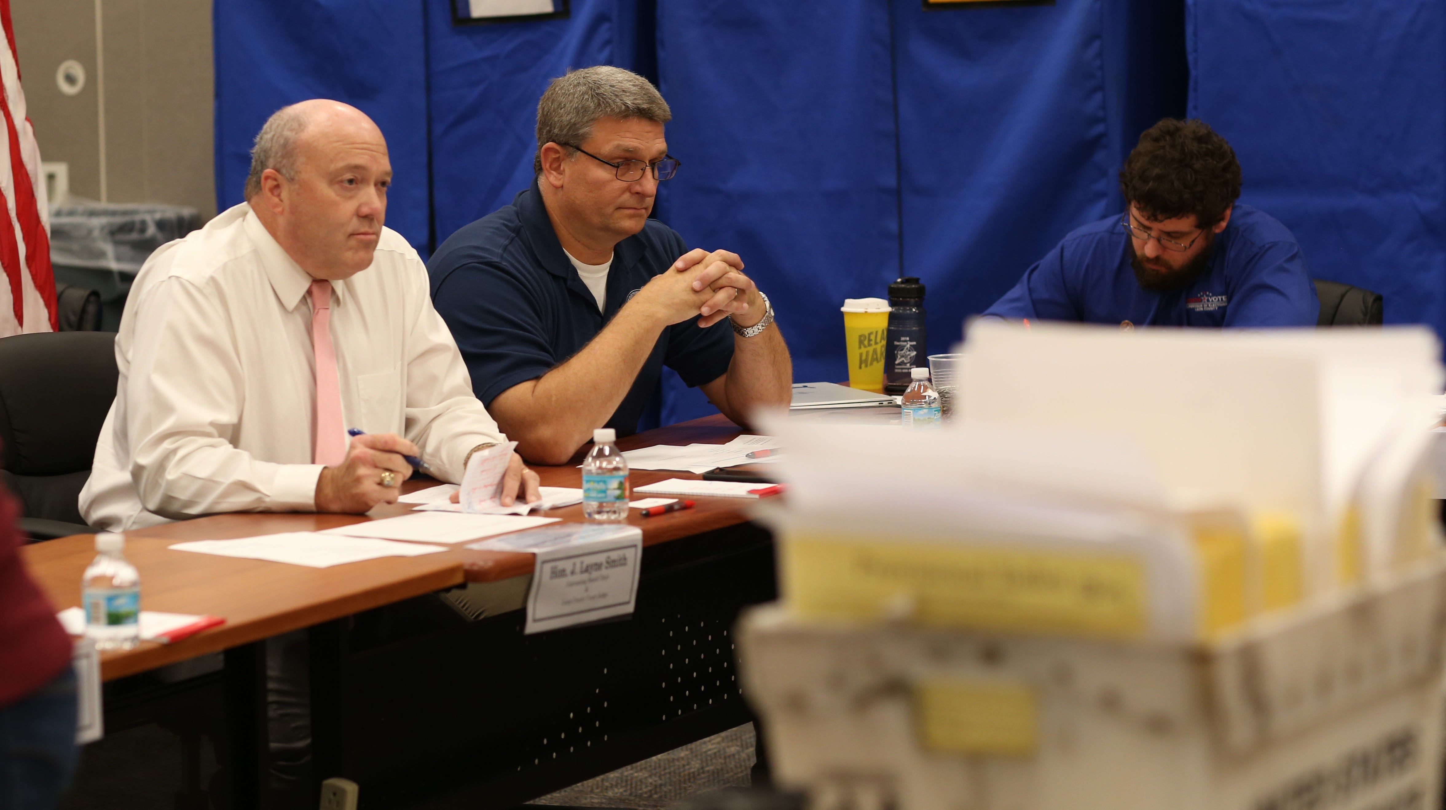 J. Layne Smith, Canvassing Board Chair and Leon County Court Judge, left, and Mark S. Earley, a Canvassing Board member and Leon County Supervisor of Elections, speak  at the Tallahassee Supervisor of Elections Canvassing meeting on Friday, Nov. 9, 2018.