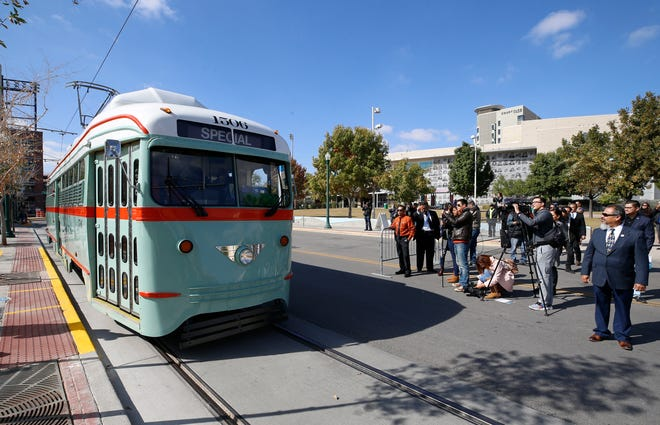 The City of El Paso launched its much-awaited El Paso Streetcar service Friday afternoon. The launching ceremony featured all three different color schemes of the newly restored Presidents Conference Committee (PCC) Streetcars and its first streetcars filled with passengers. Streetcar 1506 was the first of four streetcars that went into service at the ceremony.