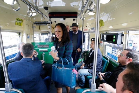 City Reps. Claudia Ordaz-Perez and Peter Svarzbein board the streetcar on its inaugural run. The City of El Paso launched its much-awaited El Paso Streetcar service Friday afternoon. The launching ceremony featured all three different color schemes of the newly restored Presidents Conference Committee (PCC) Streetcars and its first streetcars filled with passengers.