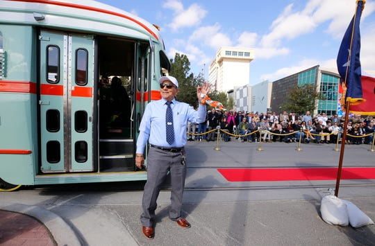 Joe Diaz a former streetcar driver (1969-1974) is all smiles shortly after pulling up one of the refurbished streetcars. The City of El Paso launched its much-awaited El Paso Streetcar service Friday afternoon. The launching ceremony featured all three different color schemes of the newly restored Presidents Conference Committee (PCC) Streetcars and its first streetcars filled with passengers.