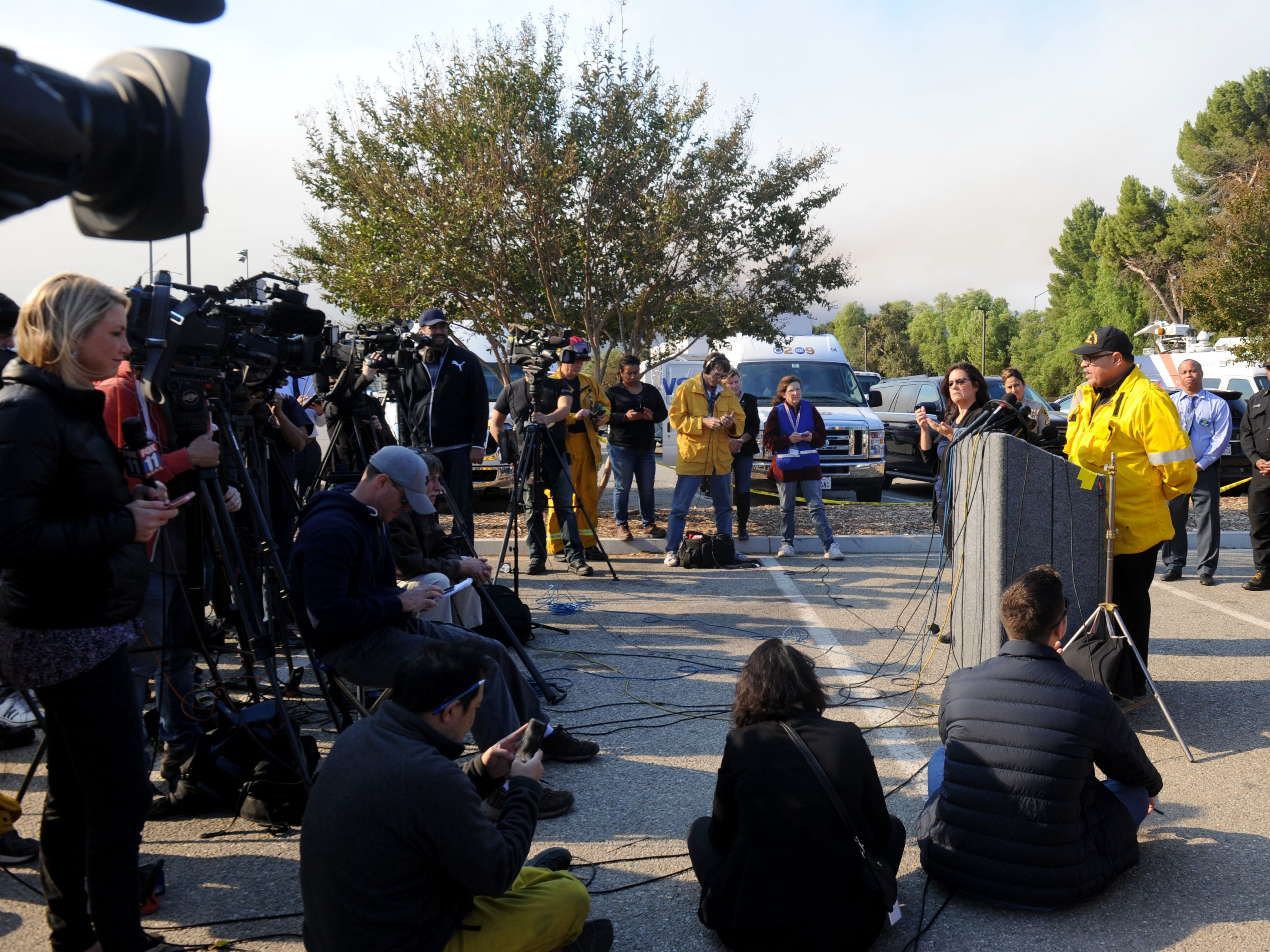 Chief Deputy David Richardson, of  the Los Angeles County Fire Department, answers questions at a news conference at Conejo Creek Park South on Friday morning.