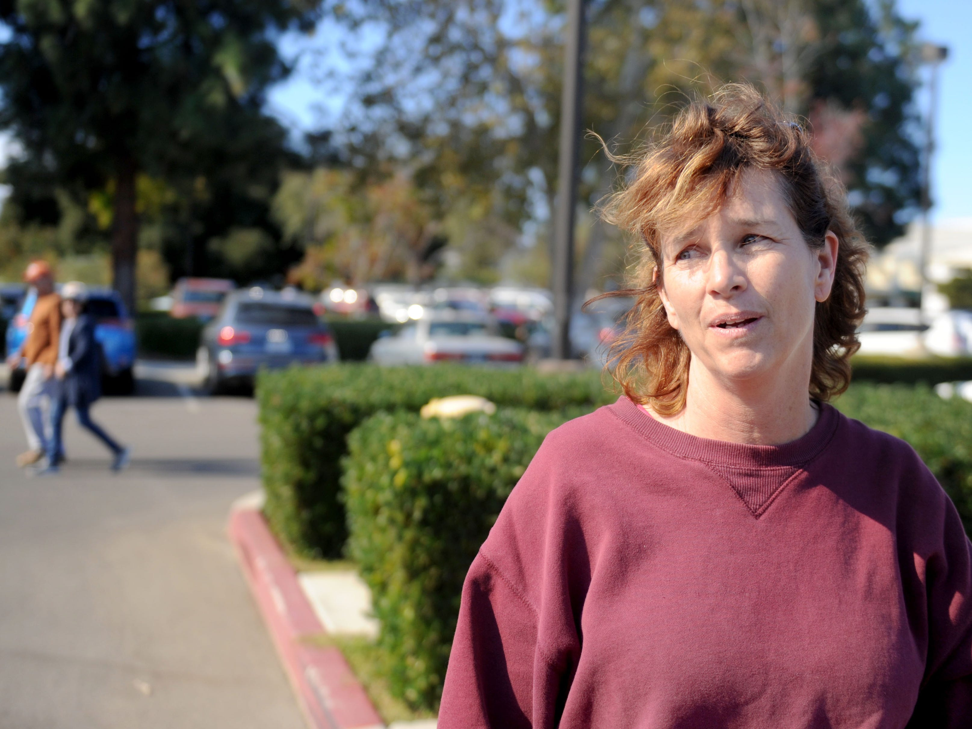 Allison Moorwood evacuated her home Friday at  2 a.m. in Thousand Oaks. She went to the Goebel Senior Adult Center.