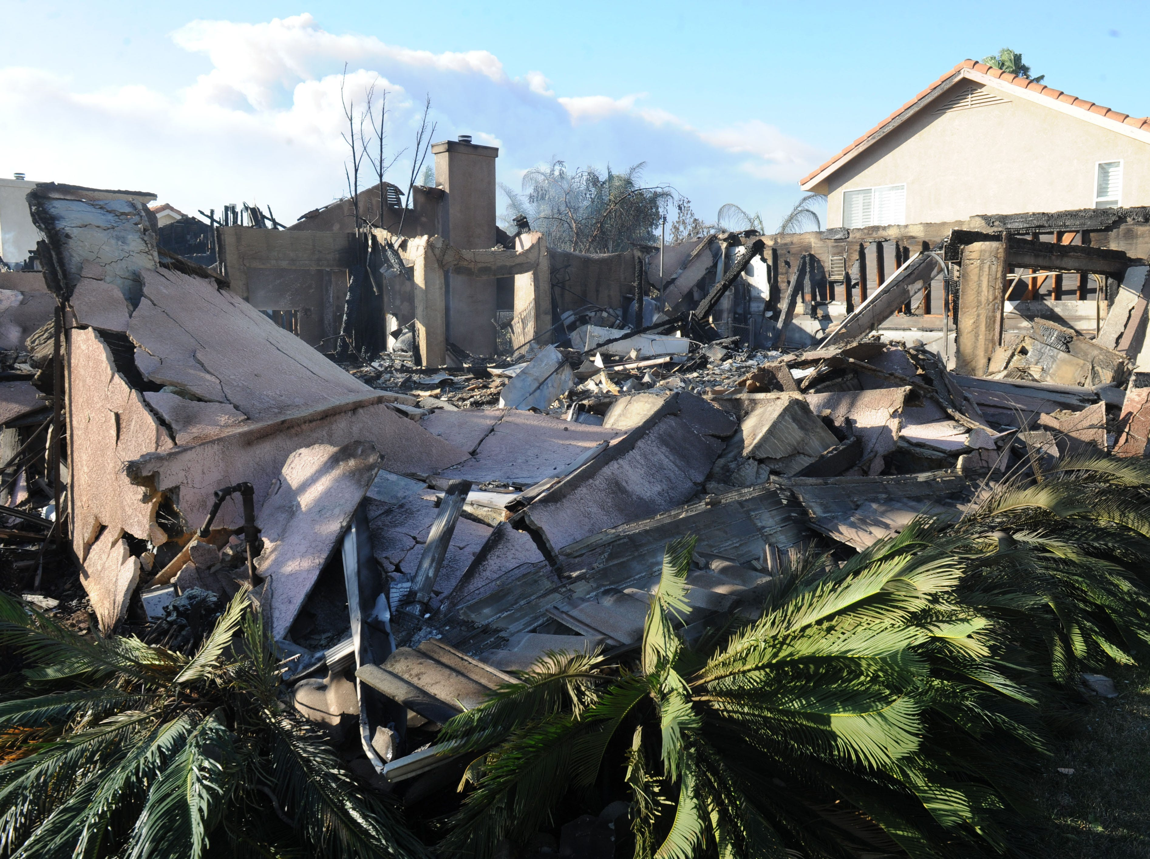 A house on Kellwood Court in Oak Park was destroyed by the Woolsey Fire on Friday.
