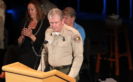 Ventura County Sheriff Geoff Dean speaks at a vigil honoring the victims of the mass shooting at the Borderline Bar & Grill. The vigil was held at the Thousand Oaks Civic Arts Plaza, November 8, 2018.