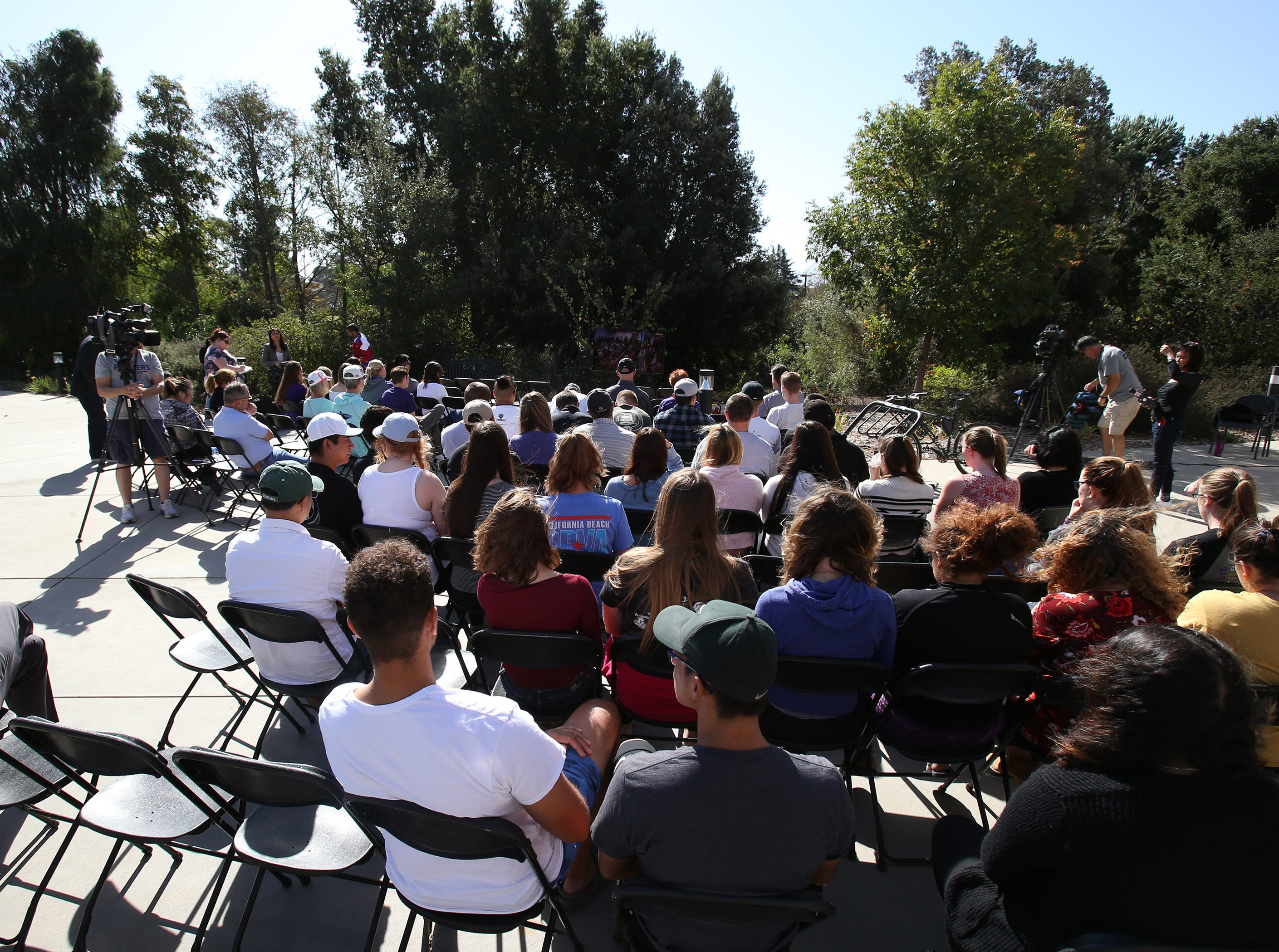 Cal Lutheran students, faculty and members of the community gather at the university chapel for the service Thursday held for the victims of the Borderline Bar Borderline Bar & Grill shooting. This was an overflow area for those who could not get into the main chapel.