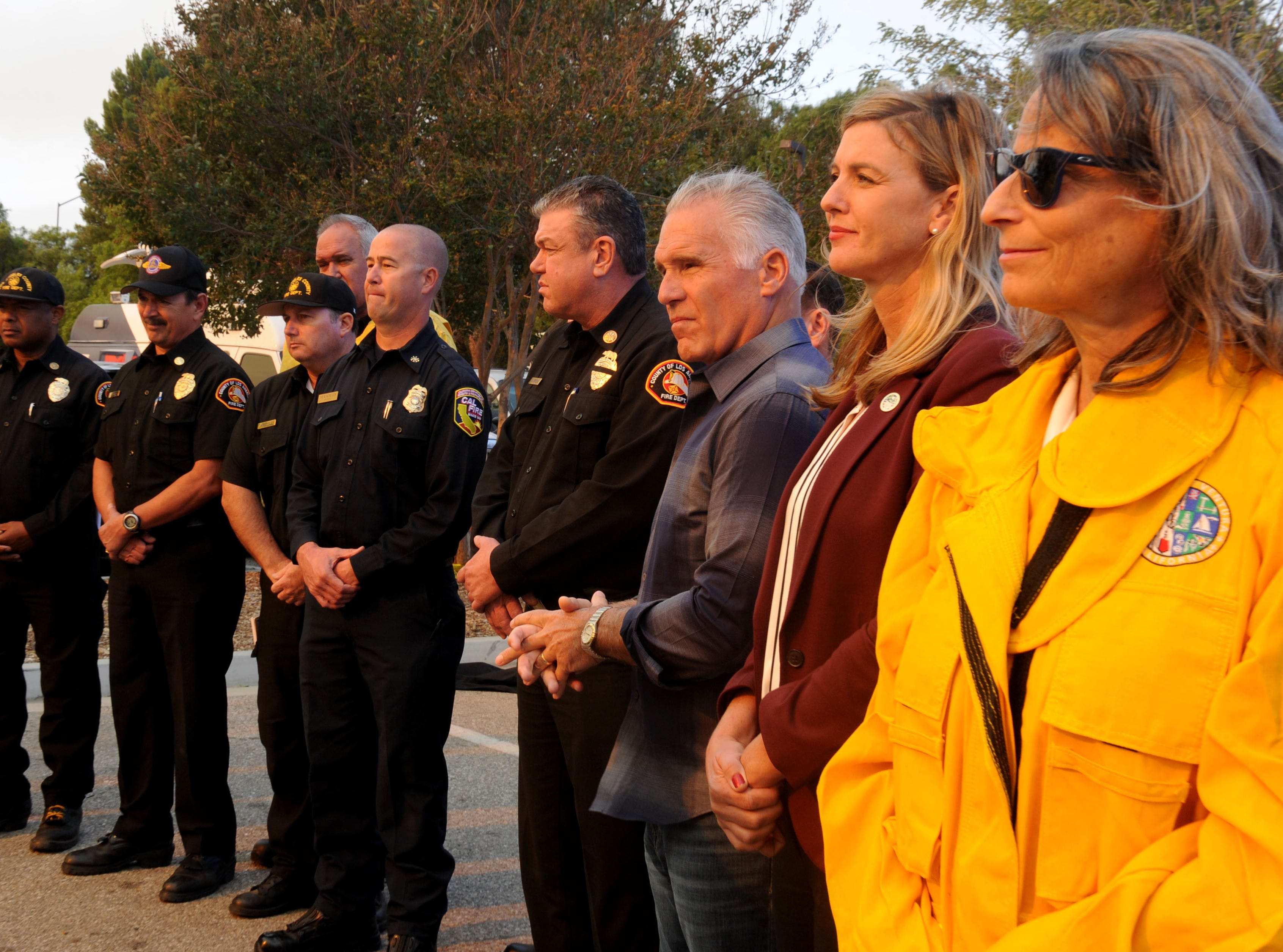 Ventura County Supervisor Peter C. Foy, Supervisor Kelly Long and Supervisor Linda Parks stand during a news  conference at Conejo Creek Park South on Friday morning.