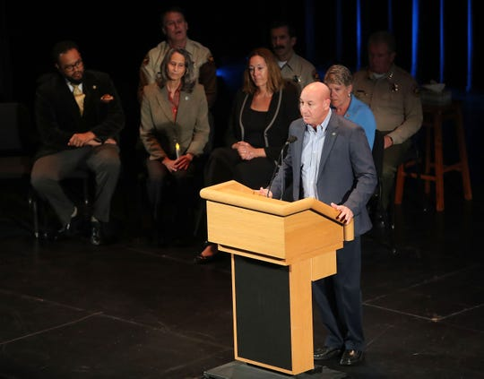 Thousand Oaks Mayor Andy Fox speaks during a vigil honoring the victims of the mass shooting at the Borderline Bar & Grill. The vigil was held at the Thousand Oaks Civic Arts Plaza on November 8, 2018.