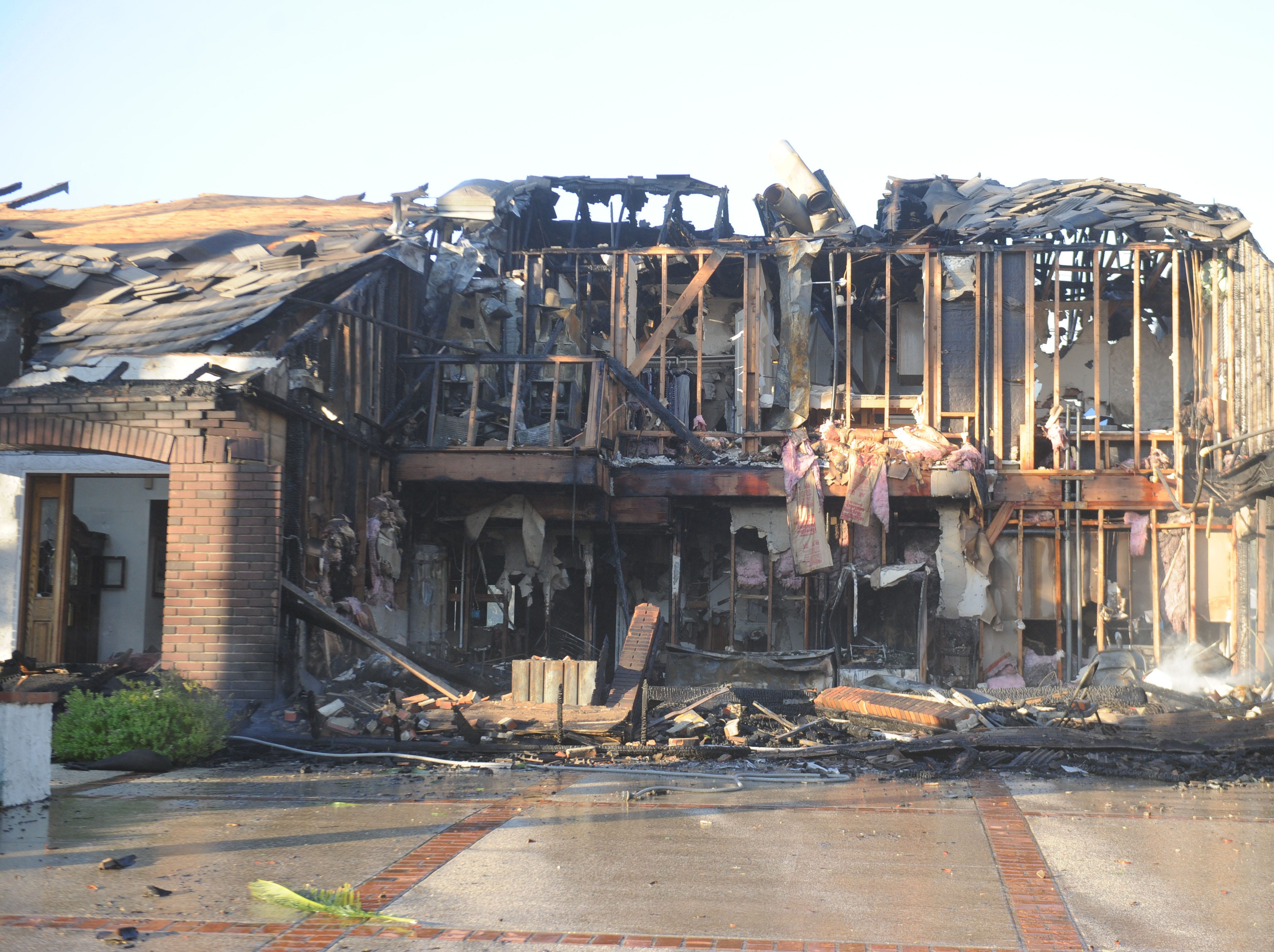 A house was destroyed Friday when the Woolsey Fire swept through portions of Oak Park.