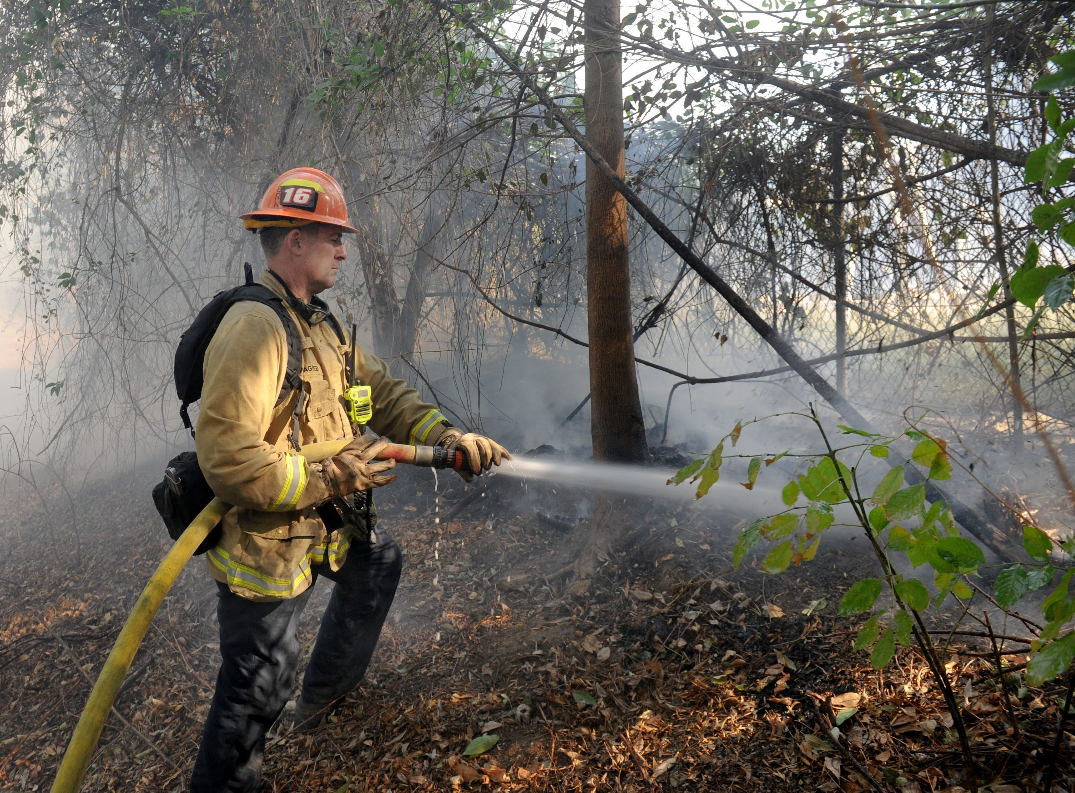 A firefighter hoses down some trees at Erbes Road and El Monte Drive in Thousand Oaks on Friday. The Woolsey Fire affected several communities in the Conejo Valley.
