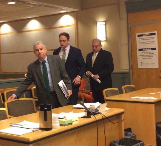 Pre-trial argument has been extensive in the prosecution of Millville police Officer Jeffrey E. Profitt on abuse allegations. Here, left to right, from a 2019 hearing in Cumberland County Superior Court, are county First Assistant Prosecutor Harold Shapiro, defense counsel Anthony M. Imbesi, and Profitt.