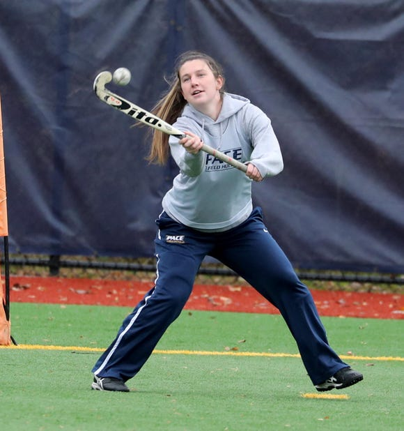 Kim Schiera, who played field hockey at Mahopac High School, now plays for Pace University, the number two ranked Division II team in the nation. Corbett practiced with the team Nov. 9, 2018.