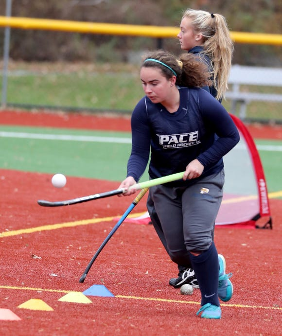 Mia Lennon, who played field hockey at Lakeland High School, now plays for Pace University, the number two ranked Division II team in the nation. Corbett practiced with the team Nov. 9, 2018.