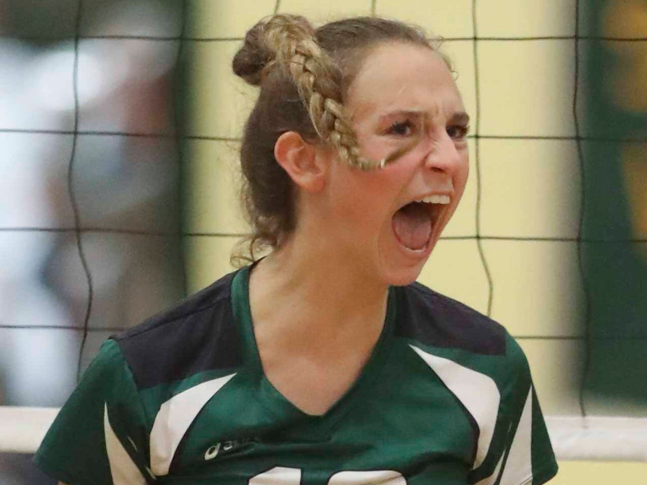 Archmere's Abigail Kates reacts as the Auks move closer to advancing to Monday's final in the DIAA state tournament Thursday at St. Mark's High School.
