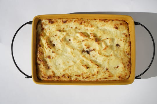 Rick Rodgers Make-Ahead Mashed Potato Casserole for Thanksgiving dinner.
