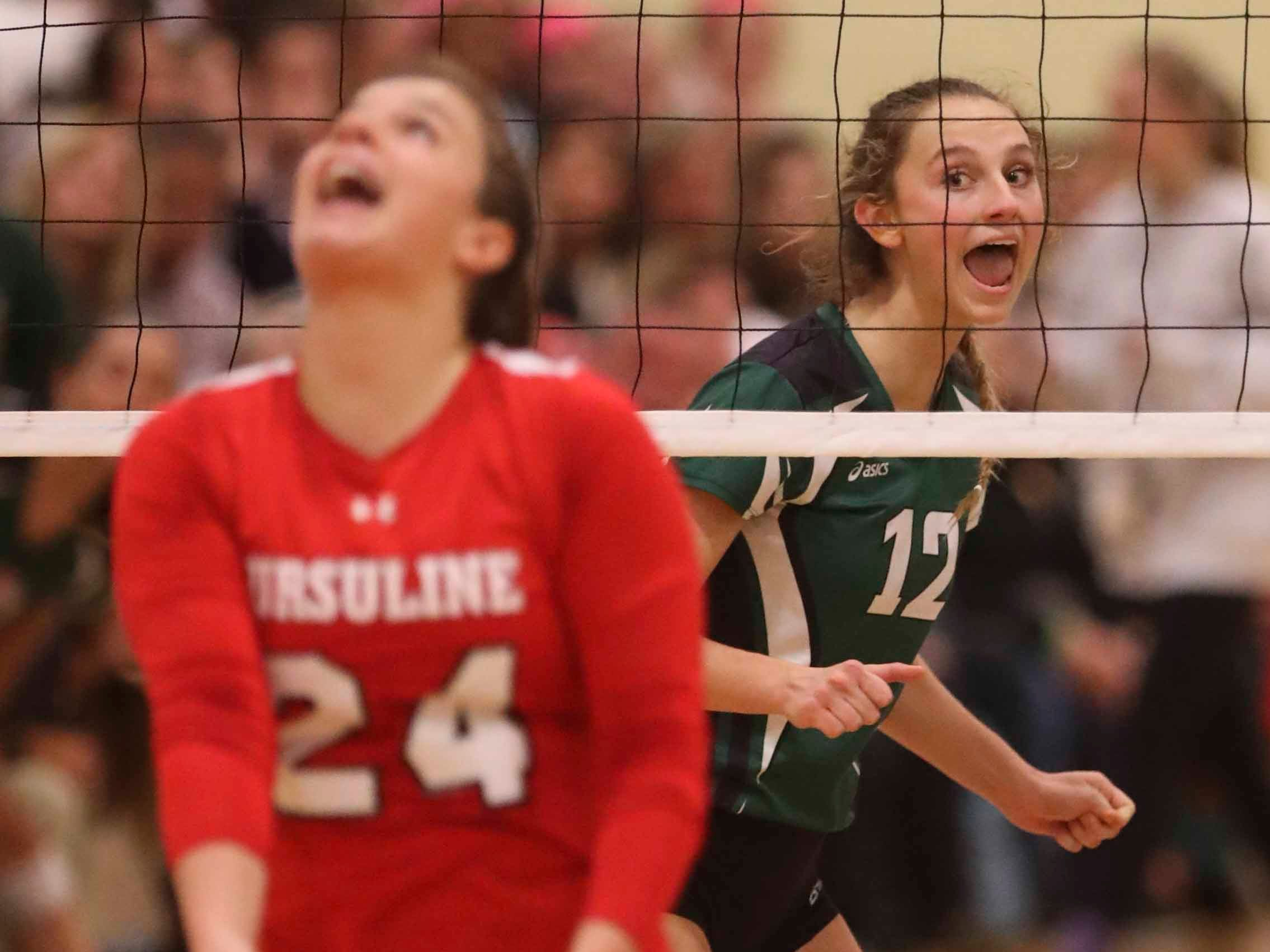 Archmere's Abigail Kates reacts after a point as the Auks advance to Monday's final in the DIAA state tournament Thursday at St. Mark's High School.