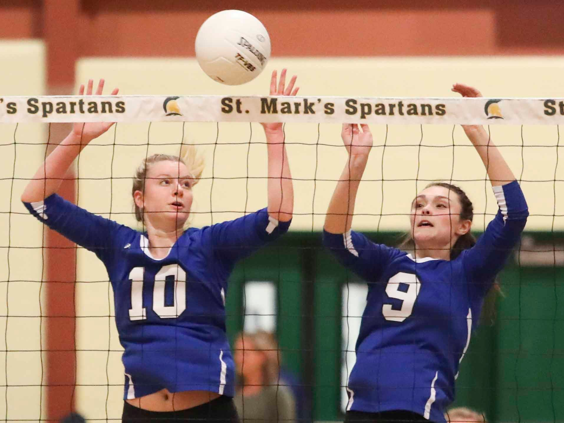 Charter School of Wilmington's Kennie Swanson (left) and Izzy Lugar defend as the Force advances Monday's final in the DIAA state tournament Thursday at St. Mark's High School.