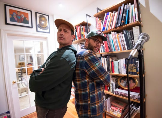 Sam Calagione, left, founder of Dogfish Head, and Bryan Selders, Dogfish brewing ambassador, will perform as The Pain Relievaz at this weekend's Analog-A-Go-Go beer and music festival in Milton and Rehoboth Beach.