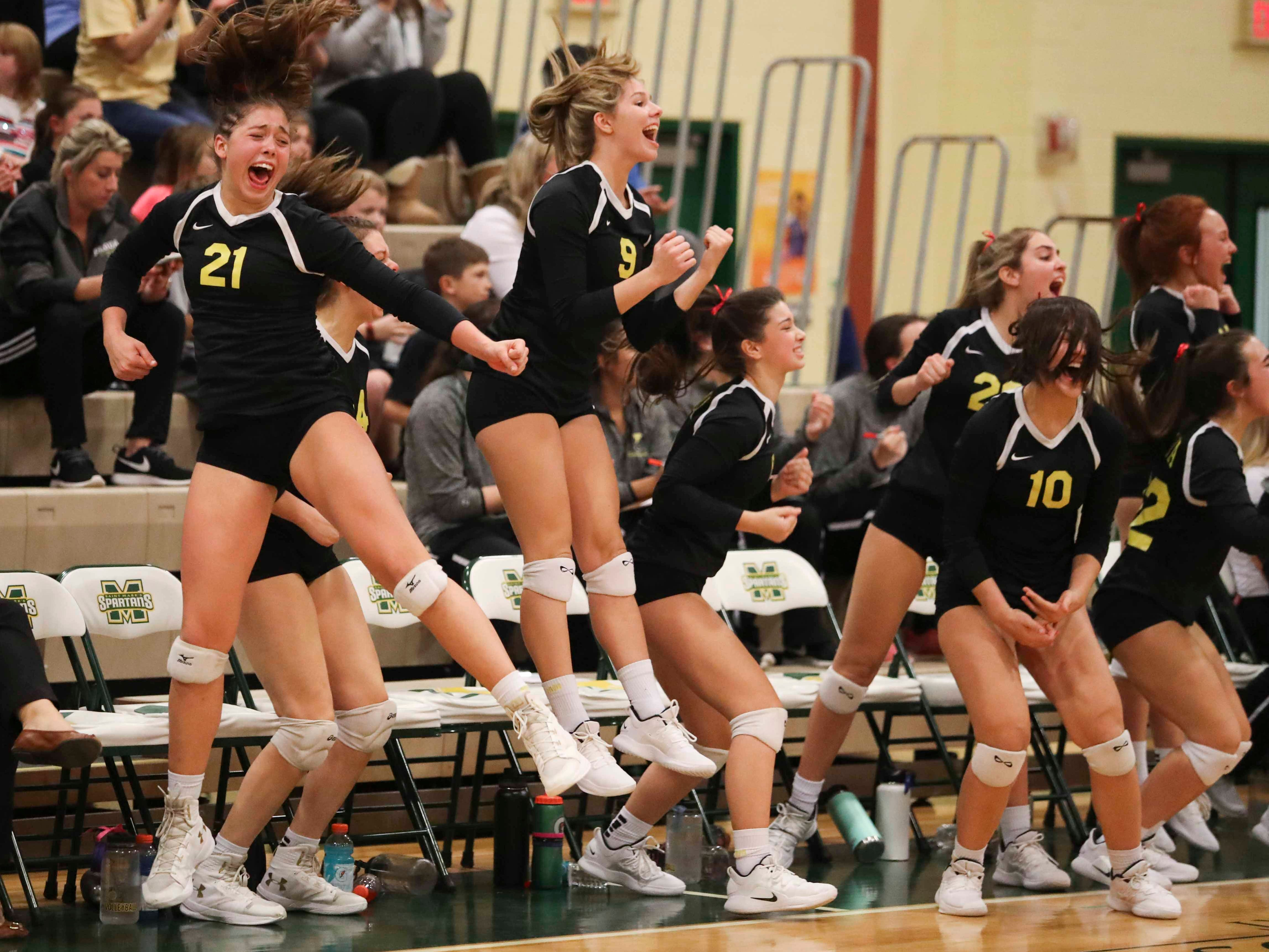The Padua bench erupts after a point before the Force eventual advances to Monday's final in the DIAA state tournament Thursday at St. Mark's High School.