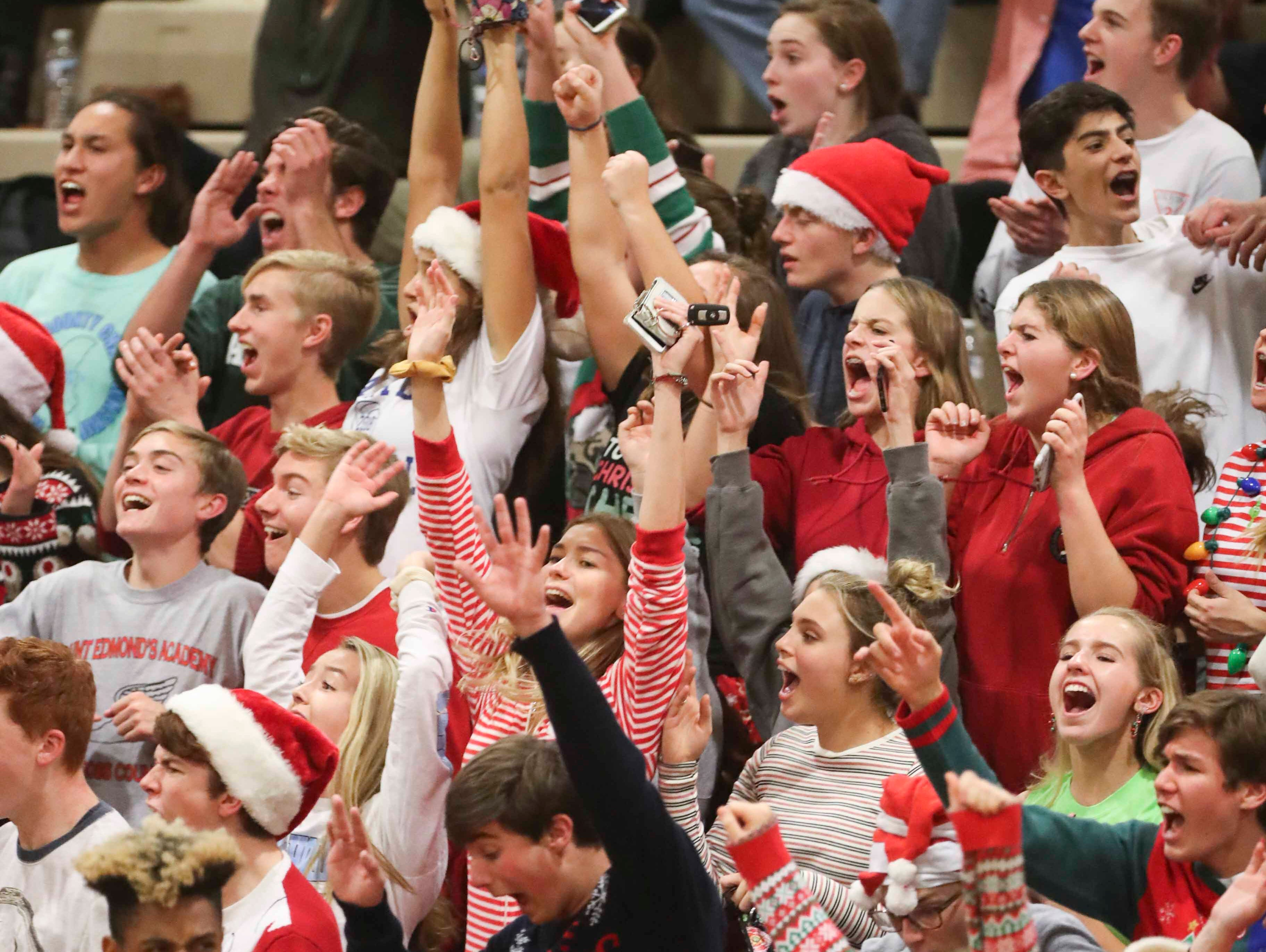 Charter School of Wilmington students cheer as the Force gets closer to advancing to Monday's final in the DIAA state tournament Thursday at St. Mark's High School.