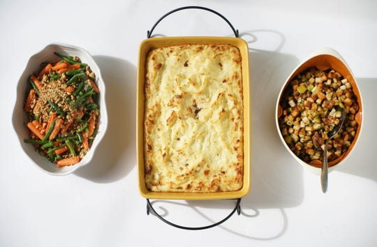 Green Beans and Baby Carrots with Hazelnut Butter, Make-Ahead Mashed Potato Casserole and stuffing.