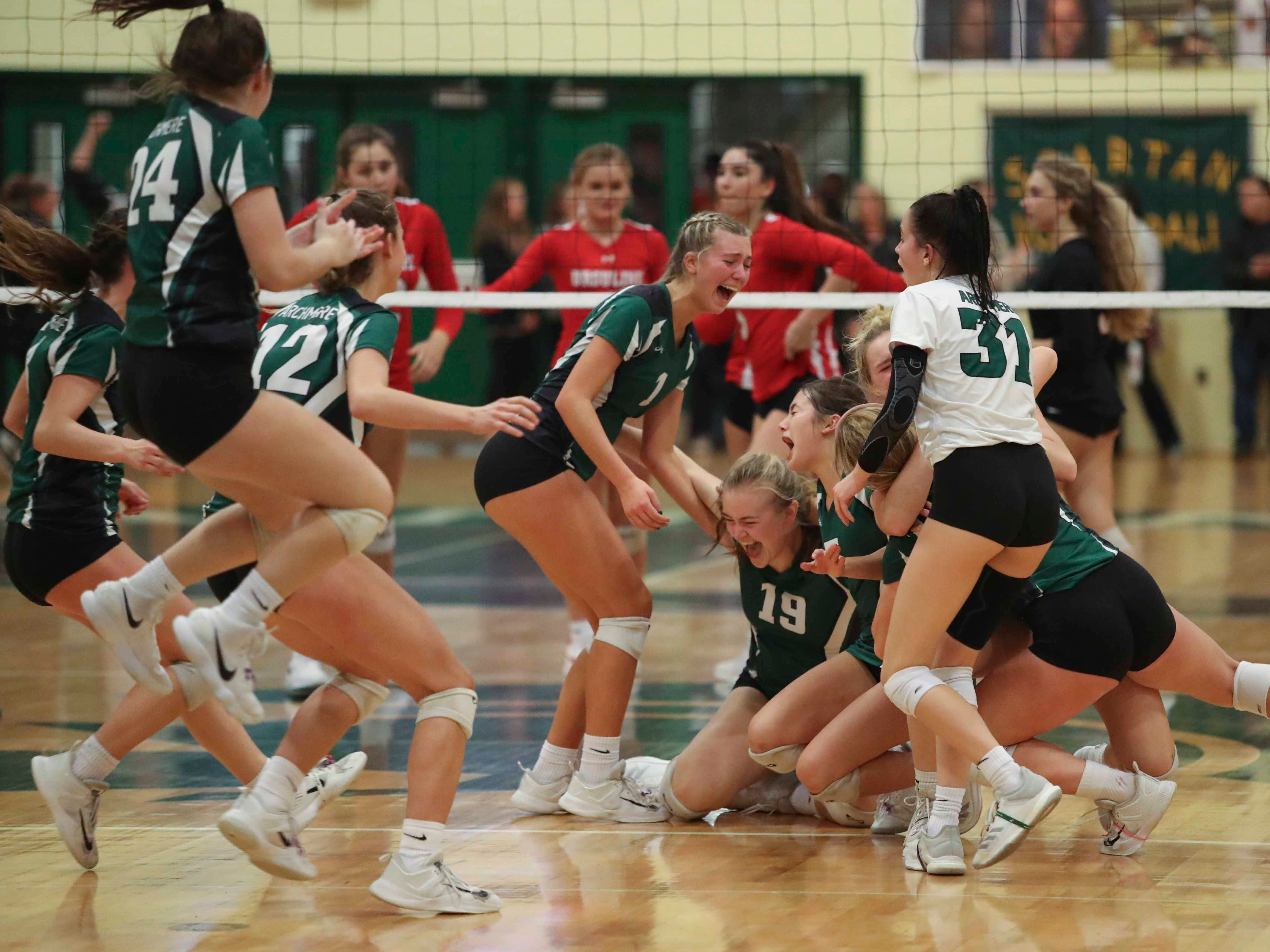 Archmere celebrates after beating Ursuline as the Auks advance to Monday's final in the DIAA state tournament Thursday at St. Mark's High School.